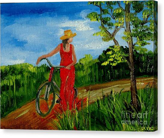 Ledy With The Bike Canvas Print by Inna Montano