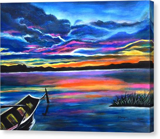 Left Alone A Seascape Boat Painting At Sunset  Canvas Print