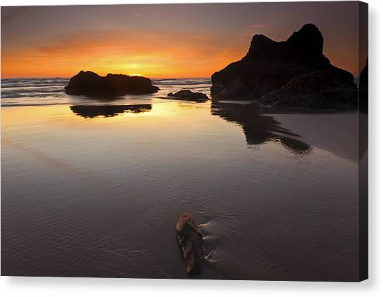 Cannon Beach Canvas Print - Left By The Tides by Mike  Dawson