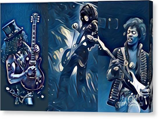 Led Zeppelin Artwork Canvas Print - Legendary Shredders - Masters Of Soul by Scott D Van Osdol