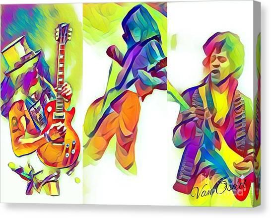 Led Zeppelin Artwork Canvas Print - Legendary Shredders - Stage Masters by Scott D Van Osdol