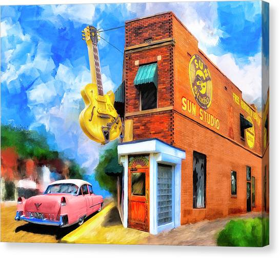 Canvas Print featuring the mixed media Legendary Sun Studio by Mark Tisdale