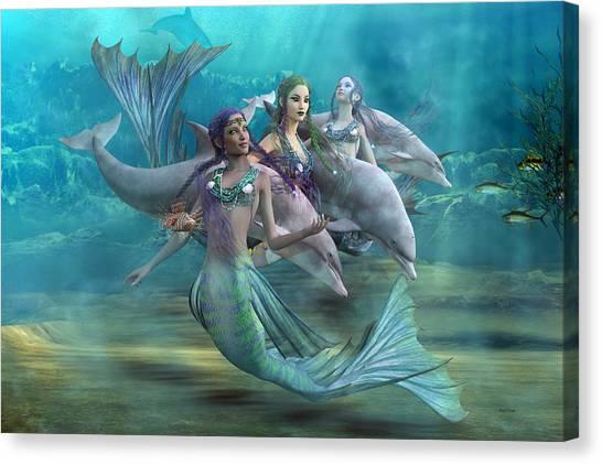 Angel Mermaids Ocean Canvas Print - Legends by Betsy Knapp