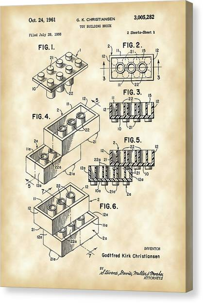 Block Canvas Print - Lego Patent 1958 - Vintage by Stephen Younts