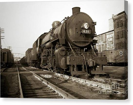 Lehigh Valley Steam Locomotive 431 At Wilkes Barre Pa. 1940s Canvas Print
