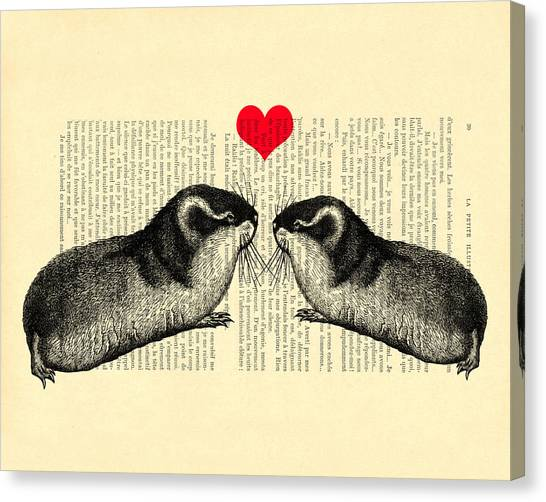 Wedding Gift Canvas Print - Lemmings In Love by Madame Memento