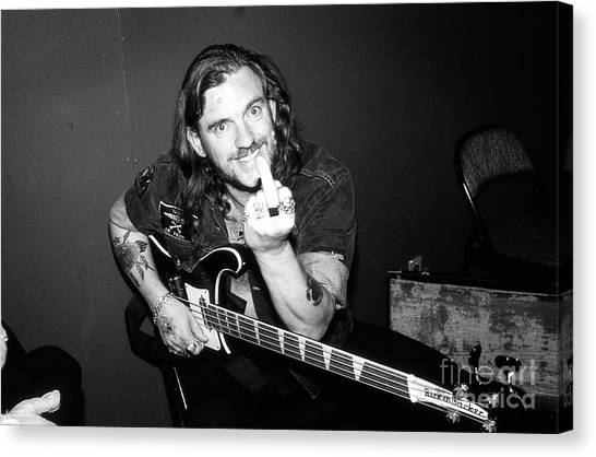 Principals Canvas Print - Lemmy Kilmister - Motorhead 1980's Candid Backstage 10b by Vintage Rock Photos