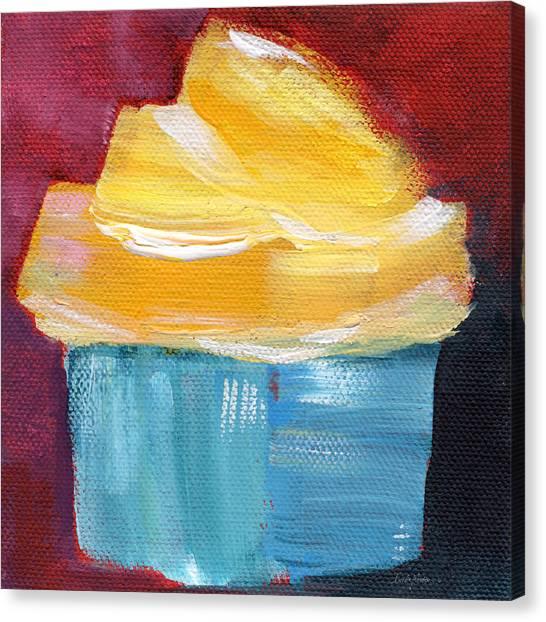 Frosting Canvas Print - Lemon Cupcake- Art By Linda Woods by Linda Woods