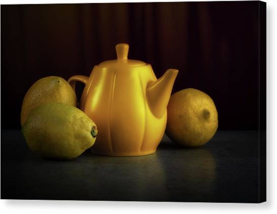 Tea Pot Canvas Print - Lemon Yellow by Tom Mc Nemar