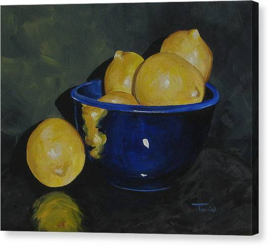 Lemons And Blue Bowl IIi Canvas Print by Torrie Smiley