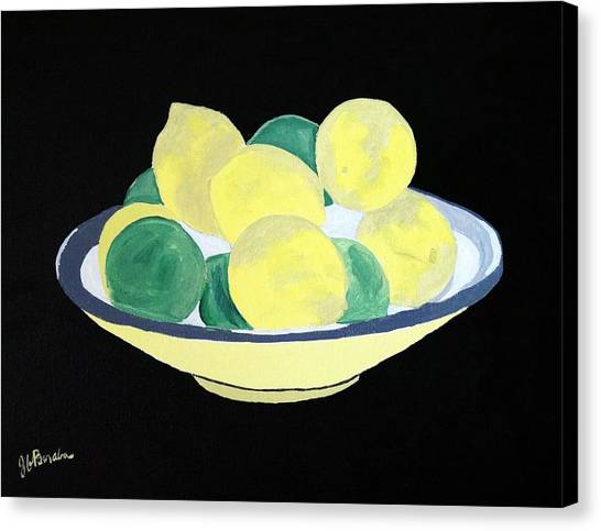 Lemons And Limes In Bowl Canvas Print