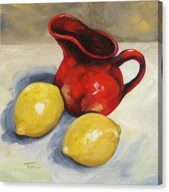 Lemons And Red Creamer Canvas Print by Torrie Smiley