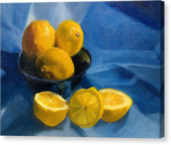 Lemons In Blue Bowl Canvas Print by Stephanie Allison