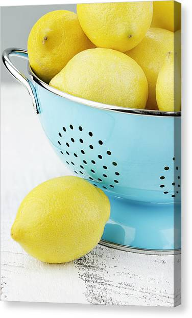 Lemons In Blue Canvas Print