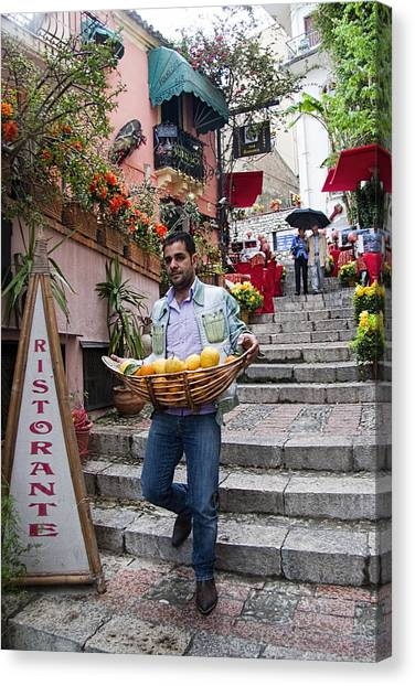 Taormina Canvas Print - Lemons In Taormina Sicily by David Smith