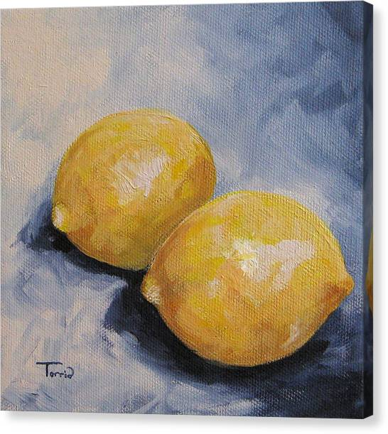 Lemons On Blue  Canvas Print by Torrie Smiley