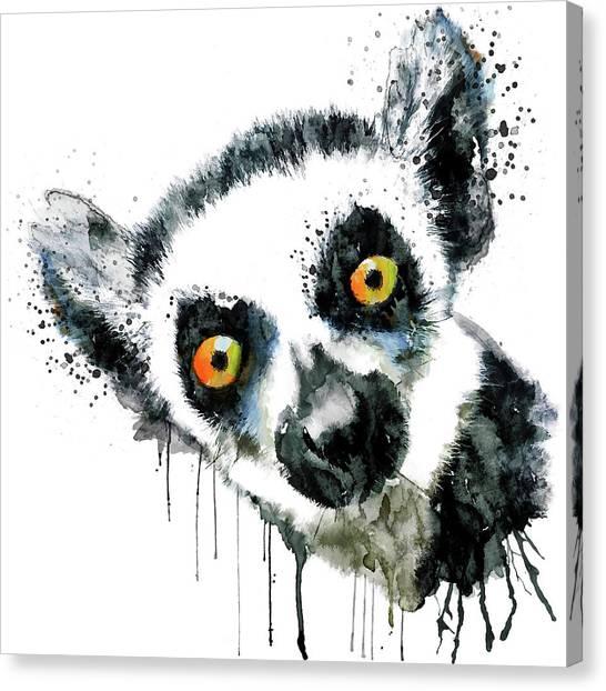 Small Mammals Canvas Print - Lemur Head  by Marian Voicu