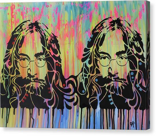 John Lennon Canvas Print - Lennon 2x by Dean Russo Art