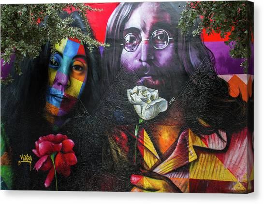 Yoko Ono Canvas Print - Lennon And Ono by Mike Burgquist