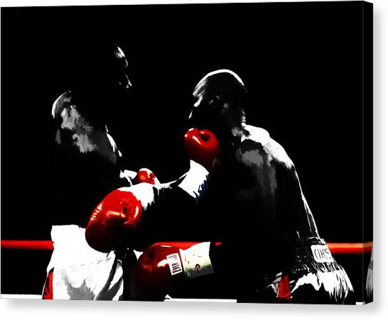 Joe Frazier Canvas Print - Lennox Lewis And Evander Holyfield  by Brian Reaves