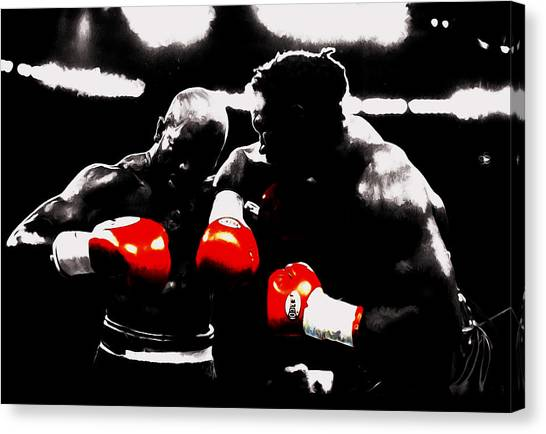 Joe Frazier Canvas Print - Lennox Lewis And Evander Holyfield II by Brian Reaves