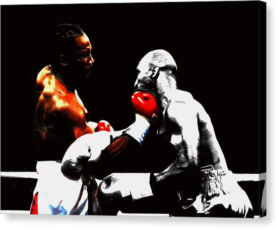 Joe Frazier Canvas Print - Lennox Lewis And Holyfield 3h by Brian Reaves