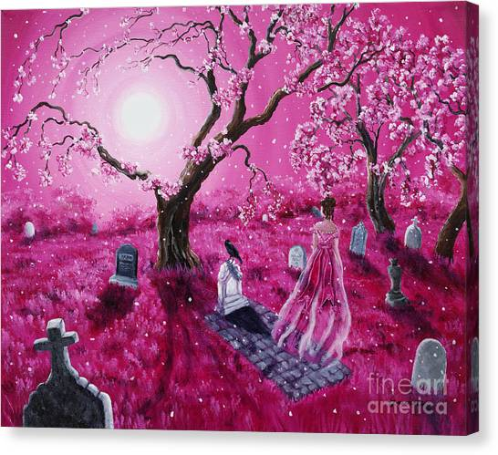 Poe Canvas Print - Lenore In The Breaking Dawn by Laura Iverson