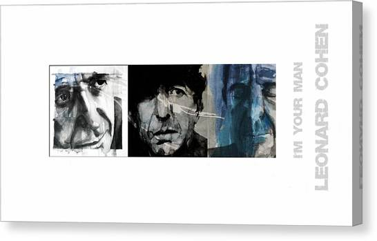 Canadian Canvas Print - Leonard Cohen Triptych by Paul Lovering