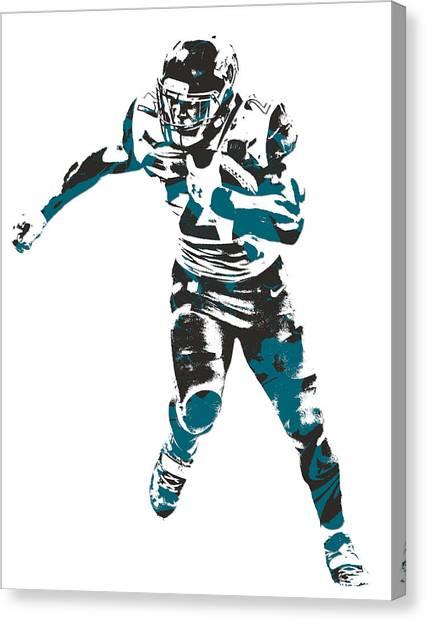 Jacksonville Jaguars Canvas Print - Leonard Fournette Jacksonville Jaguars Pixel Art 10 by Joe Hamilton
