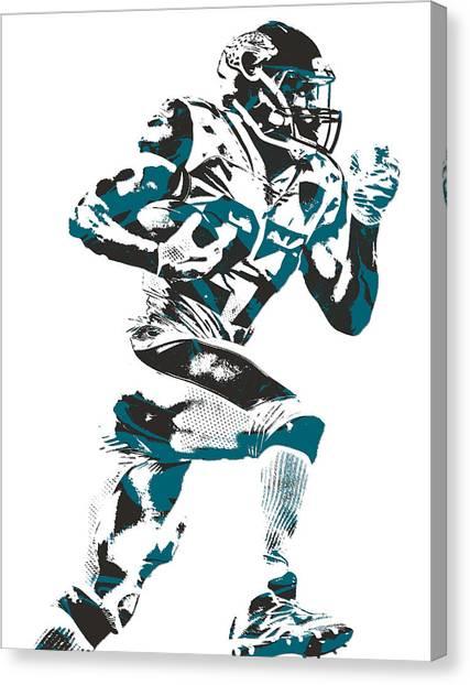 Jacksonville Jaguars Canvas Print - Leonard Fournette Jacksonville Jaguars Pixel Art 11 by Joe Hamilton