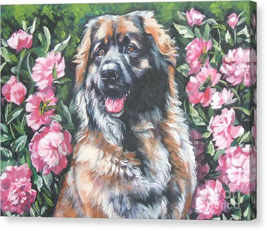 Peony Canvas Print - Leonberger In The Peonies by Lee Ann Shepard