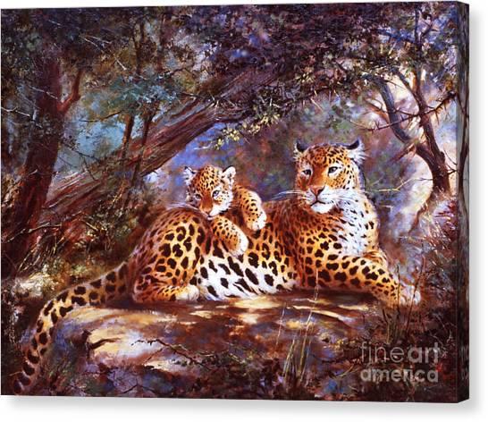 Leopard Love Canvas Print by Silvia  Duran