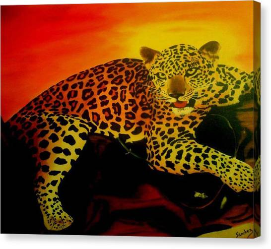Leopard On A Tree Canvas Print