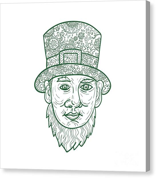 Pigmy Canvas Print - Leprechaun Head Front Mandala by Aloysius Patrimonio