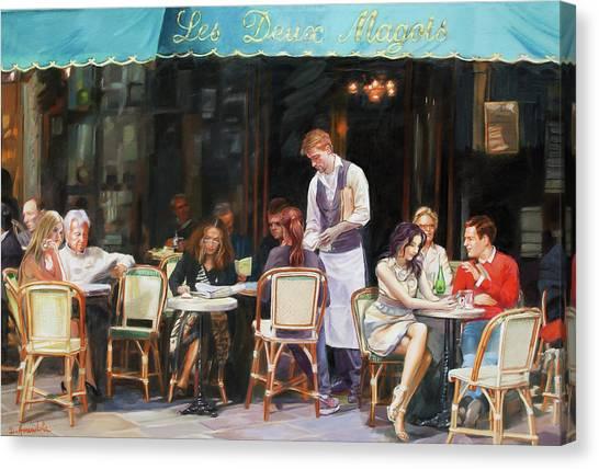 Les Deux Magots - Cafe Scene In Paris Canvas Print by Dominique Amendola