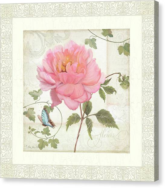 Border Wall Canvas Print - Les Fleurs Magnifiques II - Pink Peony W Vines N Butterfly  by Audrey Jeanne Roberts