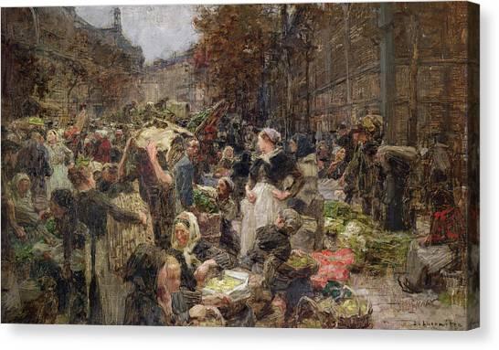 Economics Canvas Print - Les Halles by Leon Augustin Lhermitte