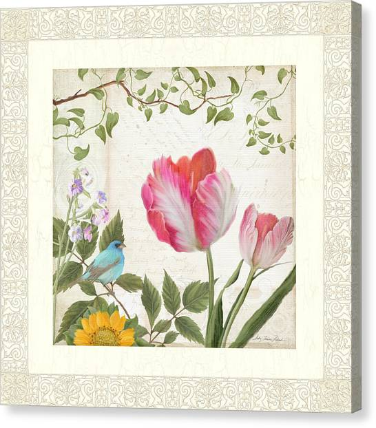 Bunting Canvas Print - Les Magnifiques Fleurs I - Magnificent Garden Flowers Parrot Tulips N Indigo Bunting Songbird by Audrey Jeanne Roberts