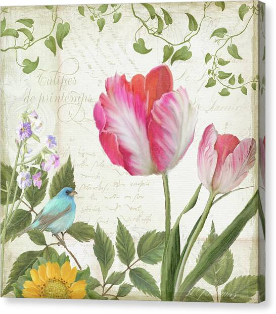 Bunting Canvas Print - Les Magnifiques Fleurs IIi - Magnificent Garden Flowers Parrot Tulips N Indigo Bunting Songbird by Audrey Jeanne Roberts