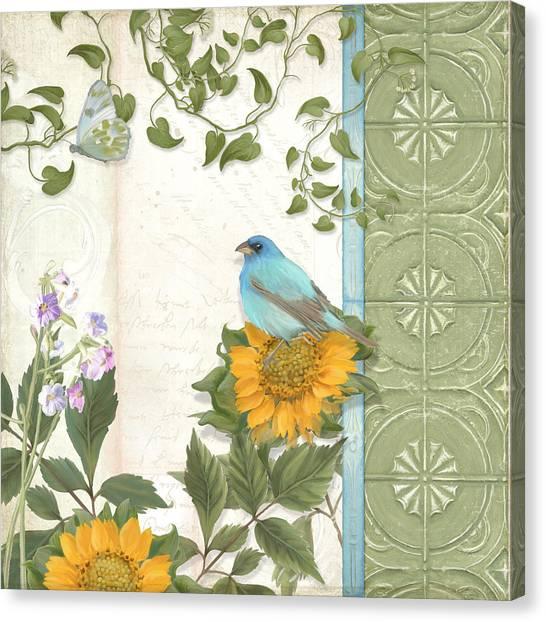 Bunting Canvas Print - Les Magnifiques Fleurs Iv - Secret Garden by Audrey Jeanne Roberts