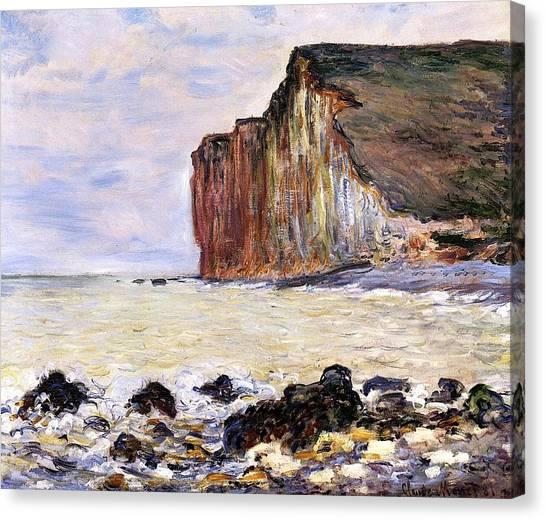 Shore Canvas Print - Les Petites Dalles by Claude Monet