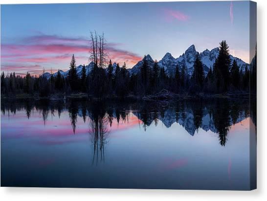 Canvas Print featuring the photograph Les Trois Tetons // Grand Teton National Park  by Nicholas Parker