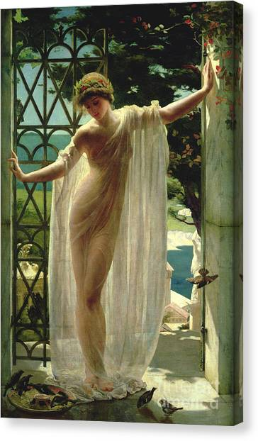Wreath Canvas Print - Lesbia by John Reinhard Weguelin