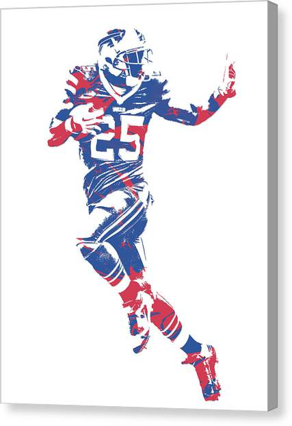 Buffalo Bills Canvas Print - Lesean Mccoy Buffalo Bills Pixel Art 14 by Joe Hamilton