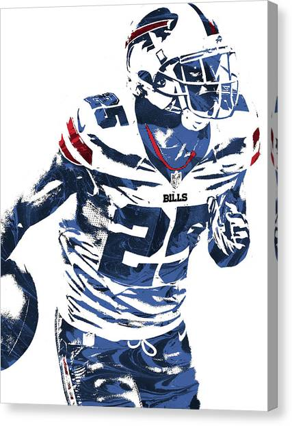 Buffalo Bills Canvas Print - Lesean Mccoy Buffalo Bills Pixel Art 2 by Joe Hamilton