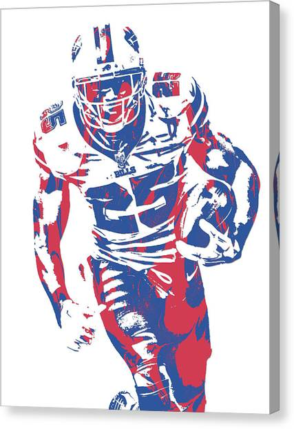 Buffalo Bills Canvas Print - Lesean Mccoy Buffalo Bills Pixel Art 21 by Joe Hamilton