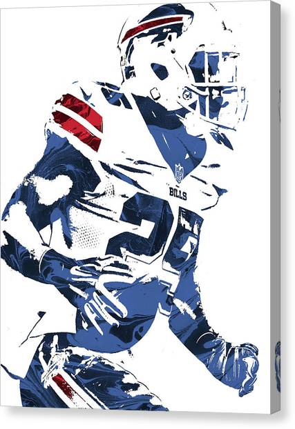 Buffalo Bills Canvas Print - Lesean Mccoy Buffalo Bills Pixel Art 3 by Joe Hamilton