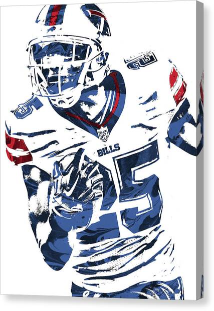 Buffalo Bills Canvas Print - Lesean Mccoy Buffalo Bills Pixel Art by Joe Hamilton