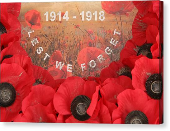 Red Travelpics Canvas Print - Lest We Forget - 1914-1918 by Travel Pics