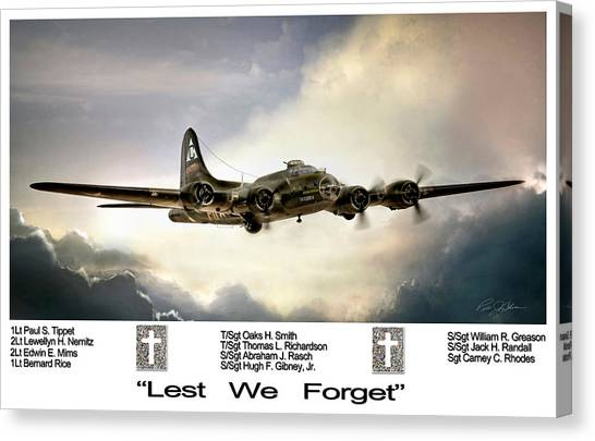United States Army Air Corps Canvas Print - Lest We Forget by Peter Chilelli